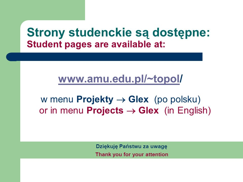 Strony studenckie są dostępne: Student pages are available at: