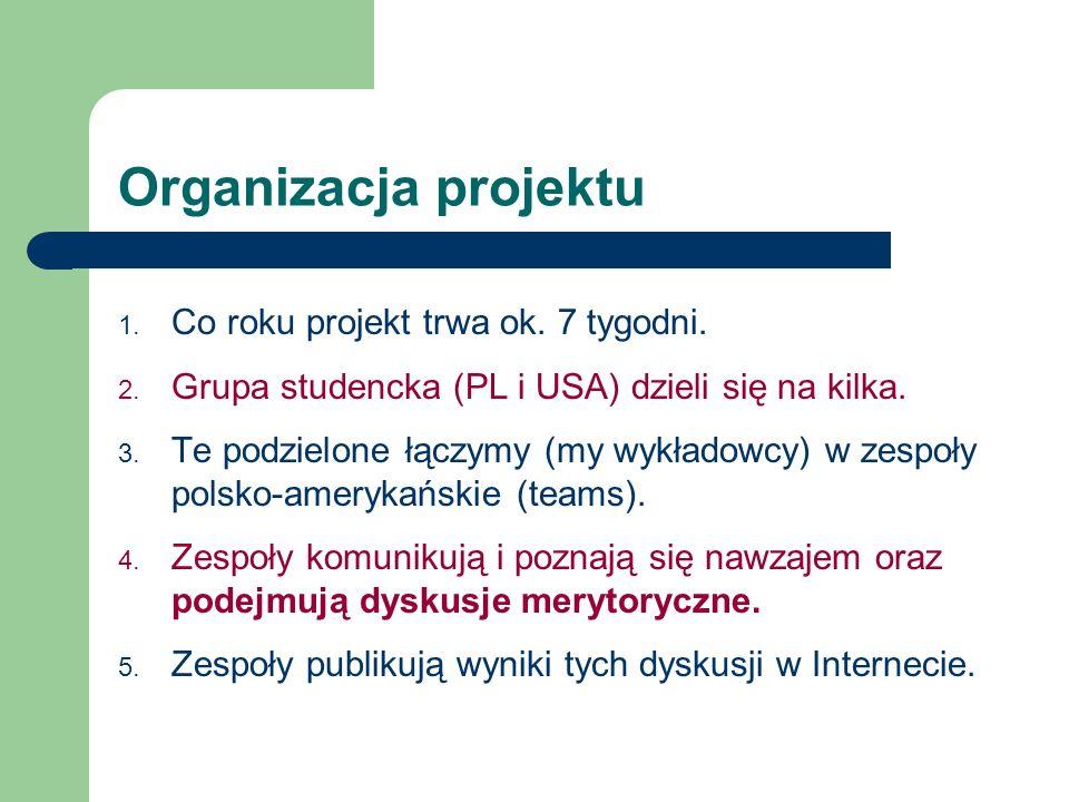 Organizacja projektu Co roku projekt trwa ok. 7 tygodni.