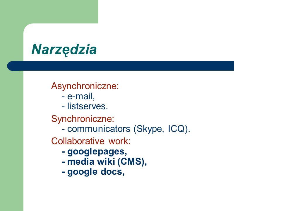 Narzędzia Asynchroniczne: - e-mail, - listserves.