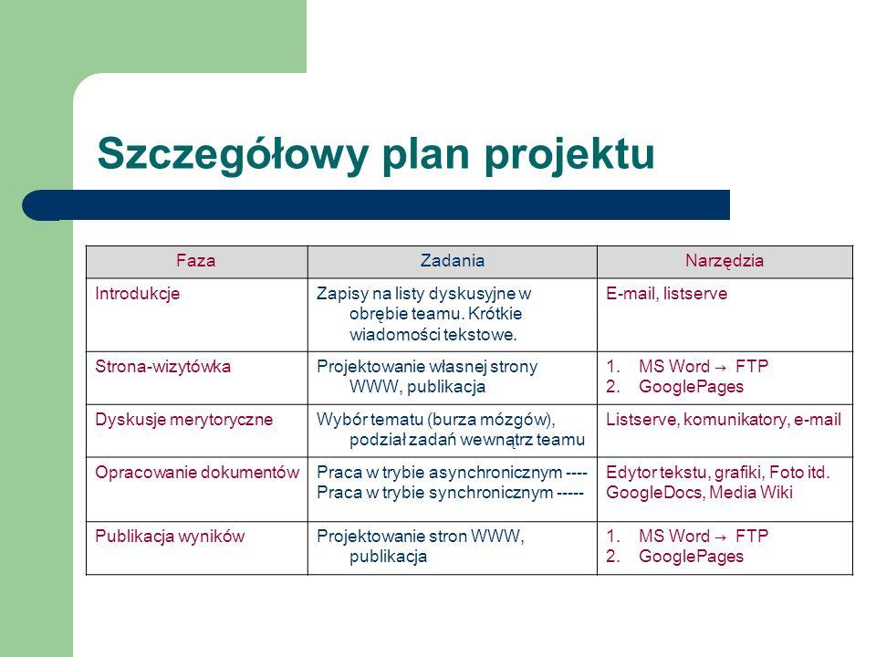Szczegółowy plan projektu