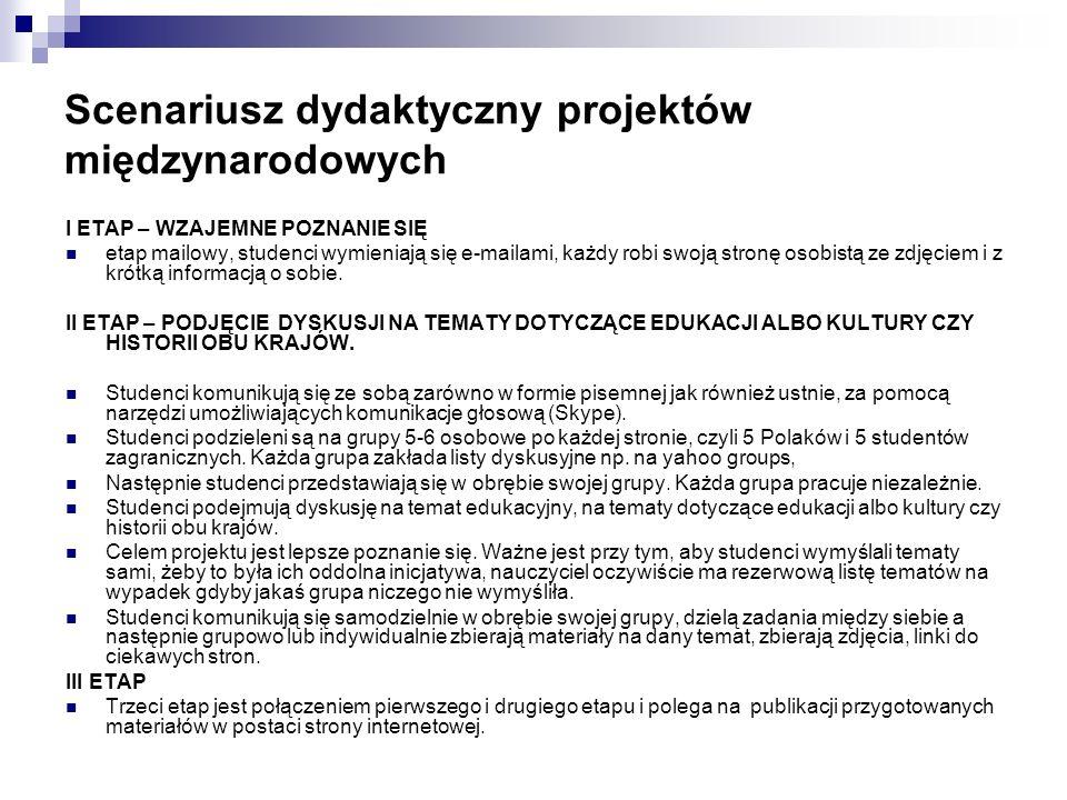 Scenariusz dydaktyczny projektów międzynarodowych