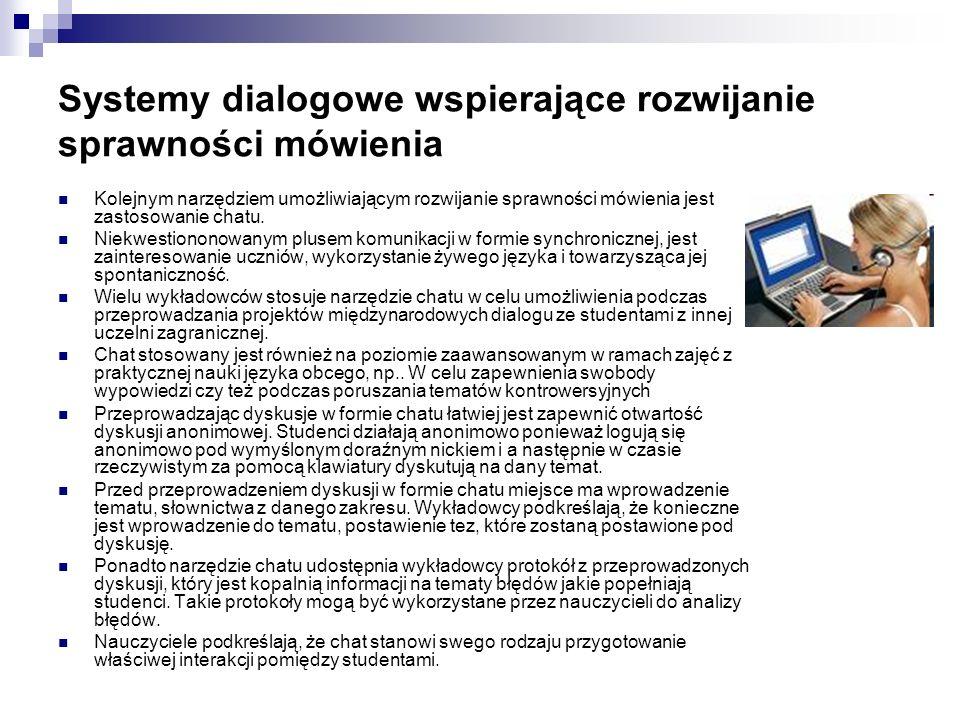 Systemy dialogowe wspierające rozwijanie sprawności mówienia