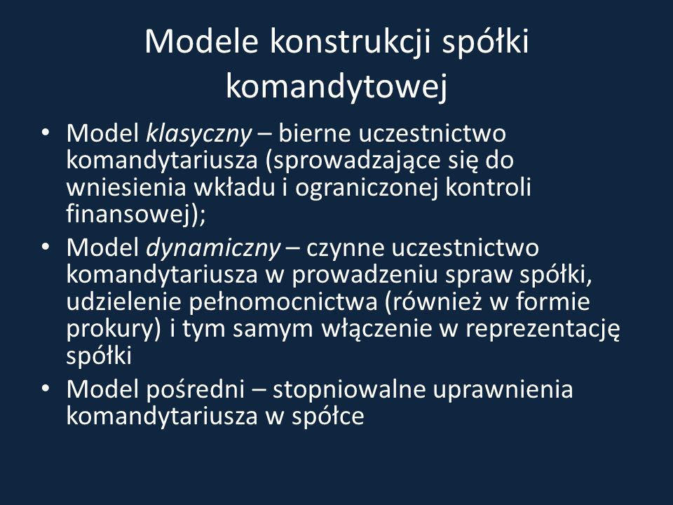 Modele konstrukcji spółki komandytowej
