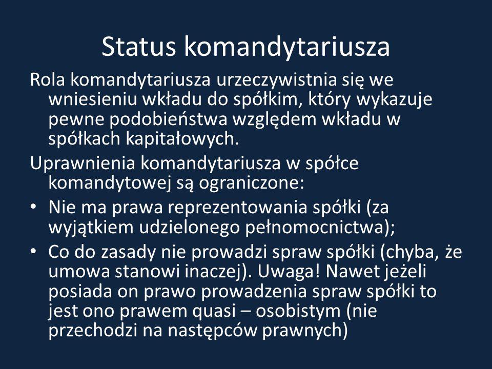 Status komandytariusza