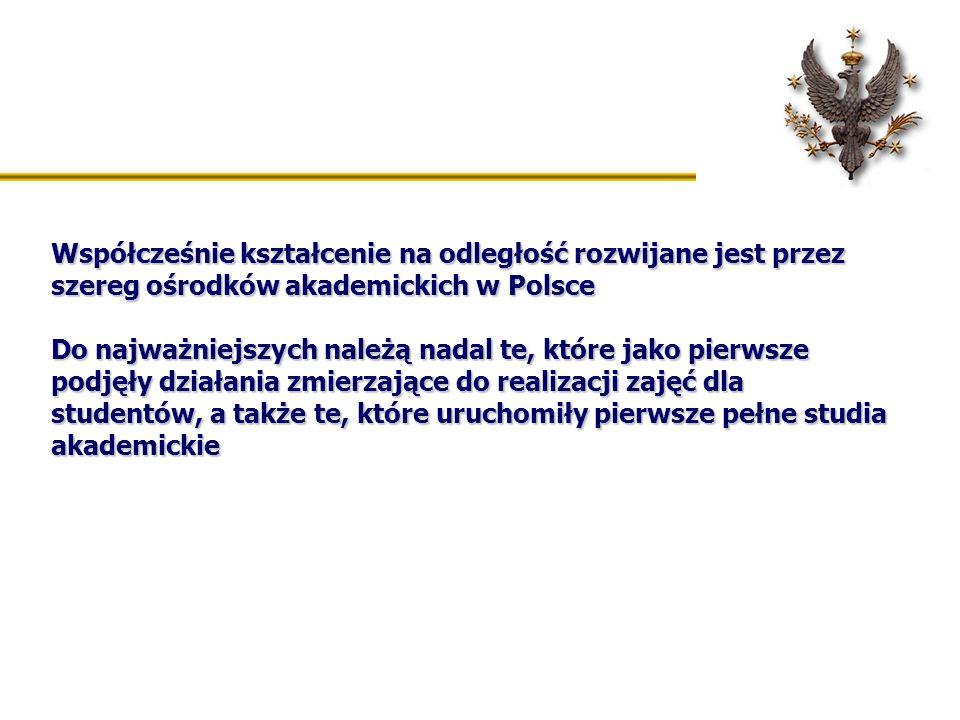 Współcześnie kształcenie na odległość rozwijane jest przez szereg ośrodków akademickich w Polsce