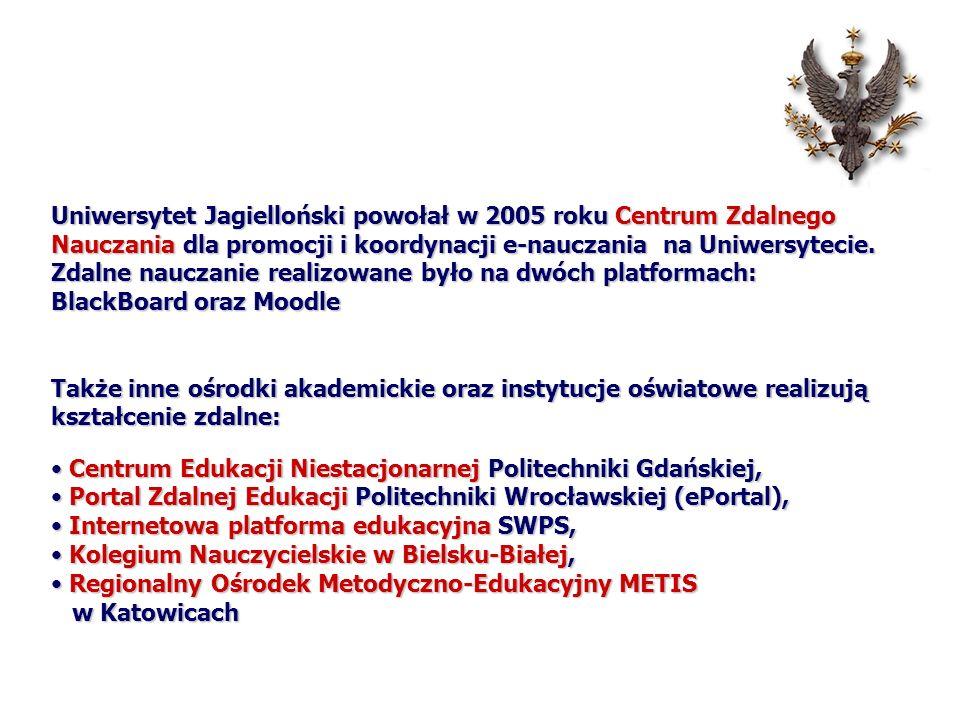 Uniwersytet Jagielloński powołał w 2005 roku Centrum Zdalnego Nauczania dla promocji i koordynacji e-nauczania na Uniwersytecie. Zdalne nauczanie realizowane było na dwóch platformach: BlackBoard oraz Moodle