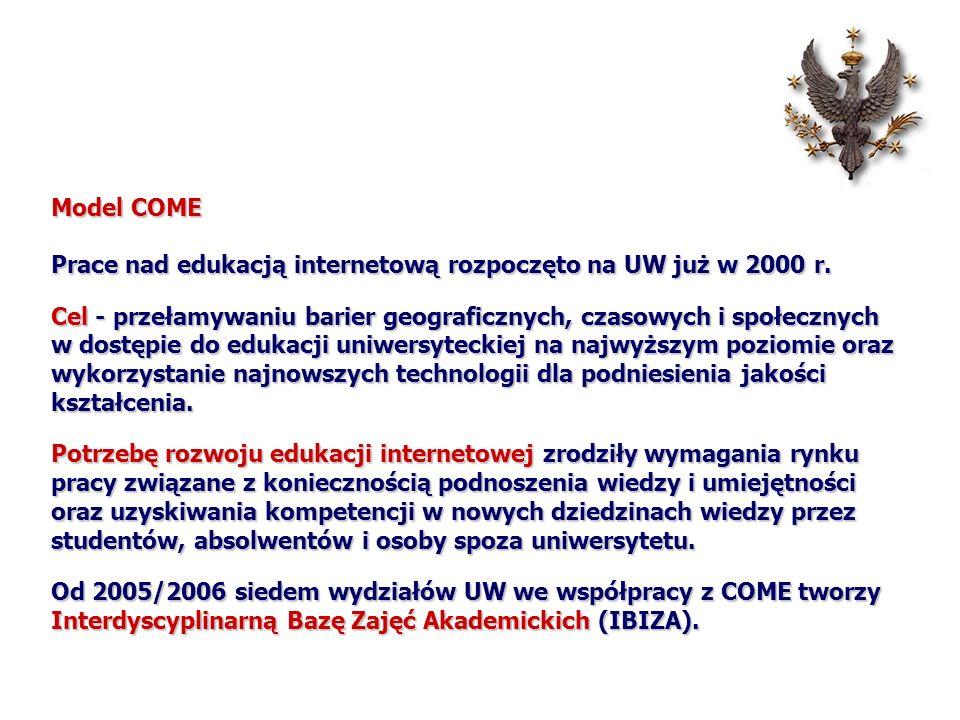 Model COME Prace nad edukacją internetową rozpoczęto na UW już w 2000 r.