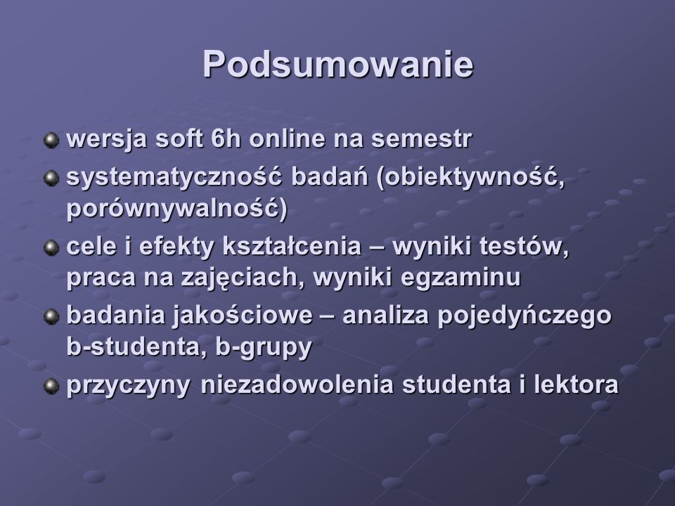 Podsumowanie wersja soft 6h online na semestr