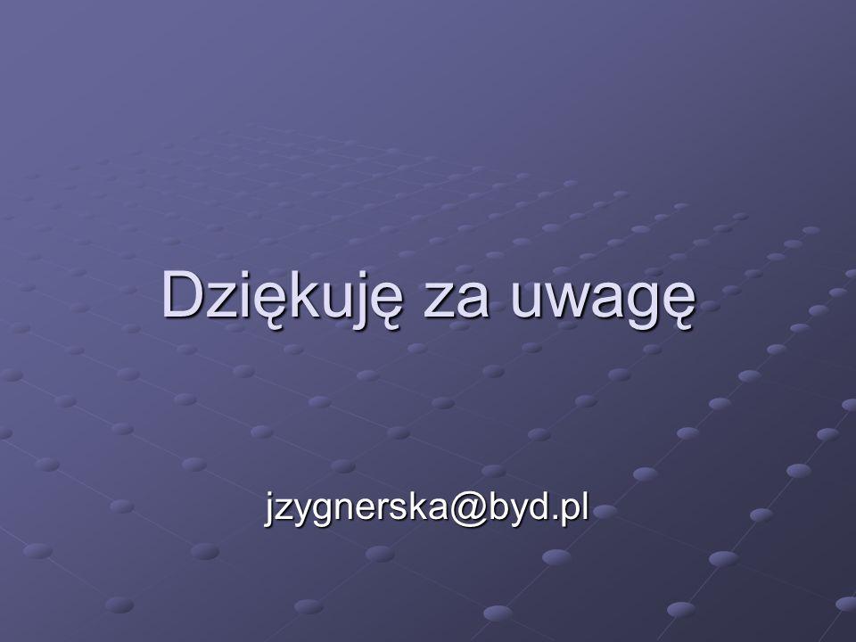 Dziękuję za uwagę jzygnerska@byd.pl