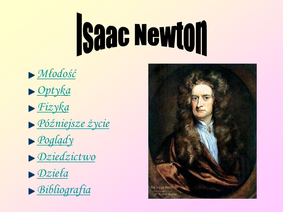 Isaac Newton Młodość Optyka Fizyka Późniejsze życie Poglądy
