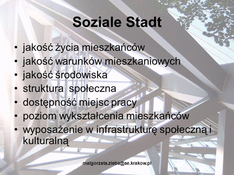 Soziale Stadt jakość życia mieszkańców jakość warunków mieszkaniowych