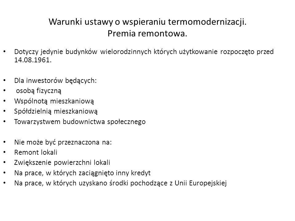 Warunki ustawy o wspieraniu termomodernizacji. Premia remontowa.