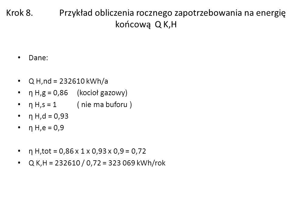 Krok 8. Przykład obliczenia rocznego zapotrzebowania na energię końcową Q K,H