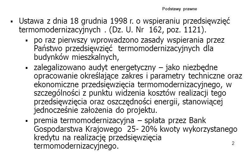 Podstawy prawne Ustawa z dnia 18 grudnia 1998 r. o wspieraniu przedsięwzięć termomodernizacyjnych . (Dz. U. Nr 162, poz. 1121).