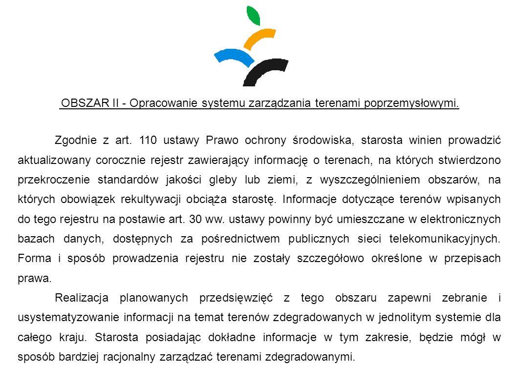 OBSZAR II - Opracowanie systemu zarządzania terenami poprzemysłowymi.