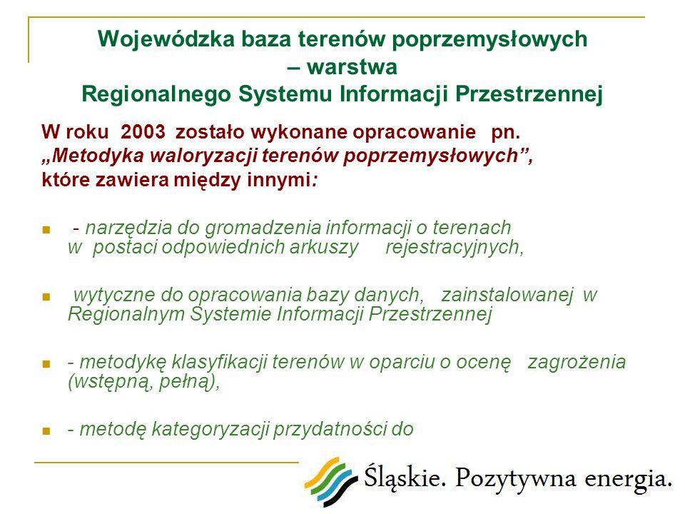 Wojewódzka baza terenów poprzemysłowych – warstwa Regionalnego Systemu Informacji Przestrzennej