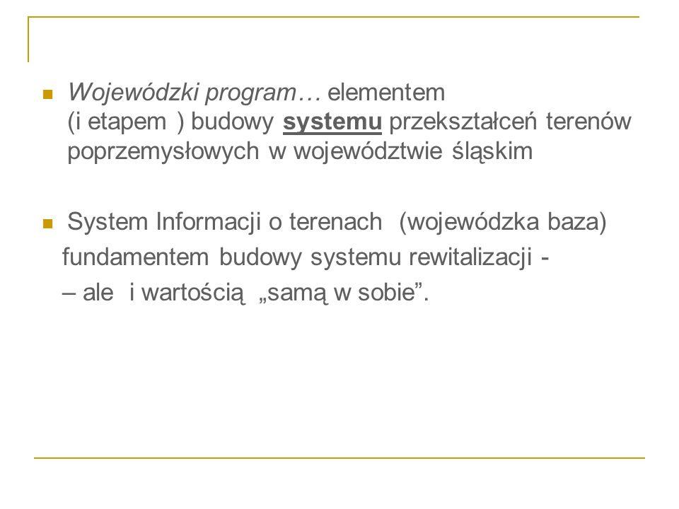 Wojewódzki program… elementem (i etapem ) budowy systemu przekształceń terenów poprzemysłowych w województwie śląskim