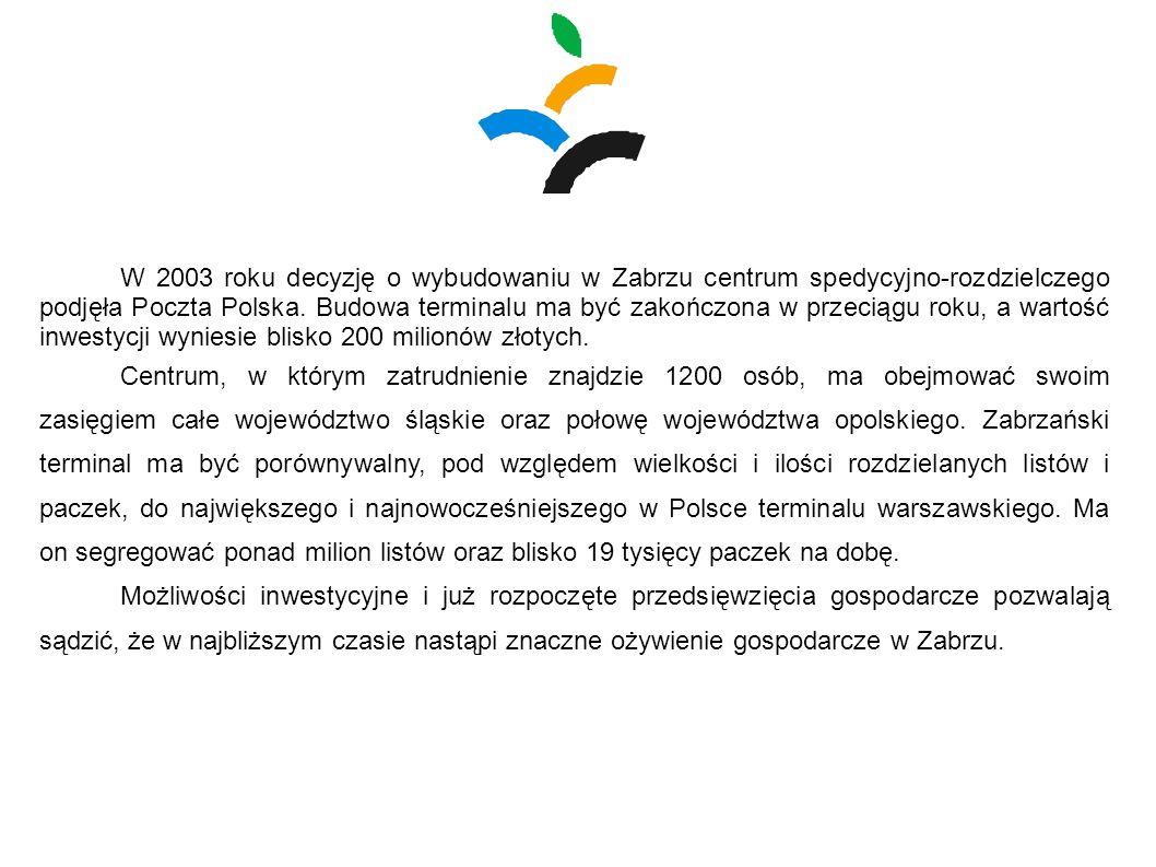 W 2003 roku decyzję o wybudowaniu w Zabrzu centrum spedycyjno-rozdzielczego podjęła Poczta Polska. Budowa terminalu ma być zakończona w przeciągu roku, a wartość inwestycji wyniesie blisko 200 milionów złotych.
