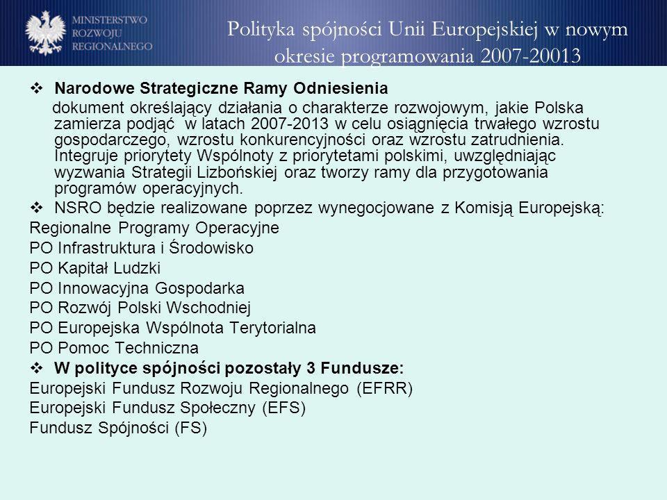 Polityka spójności Unii Europejskiej w nowym okresie programowania 2007-20013