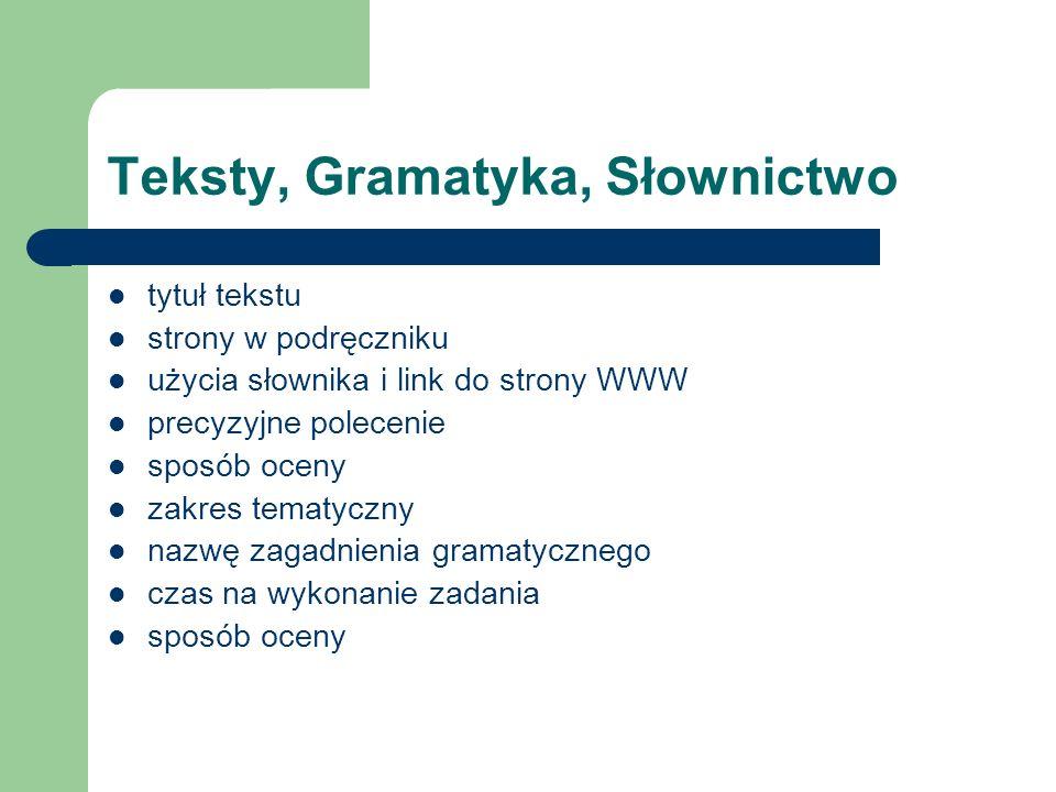 Teksty, Gramatyka, Słownictwo