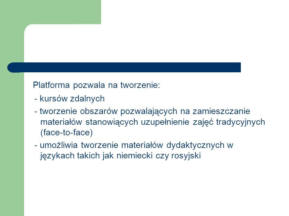 Platforma pozwala na tworzenie: