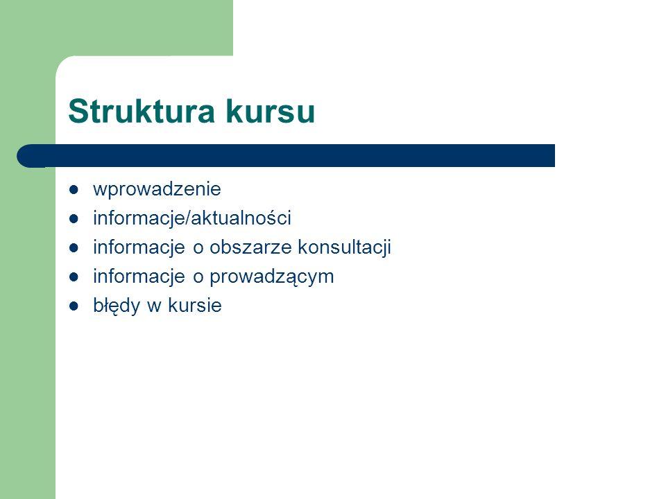 Struktura kursu wprowadzenie informacje/aktualności
