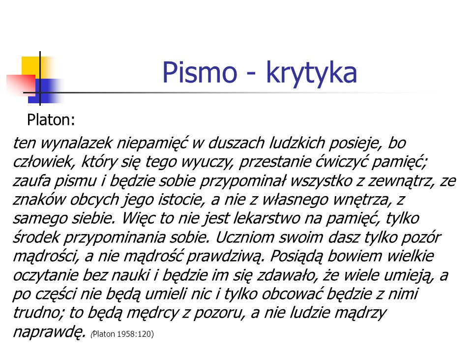 Pismo - krytyka Platon:
