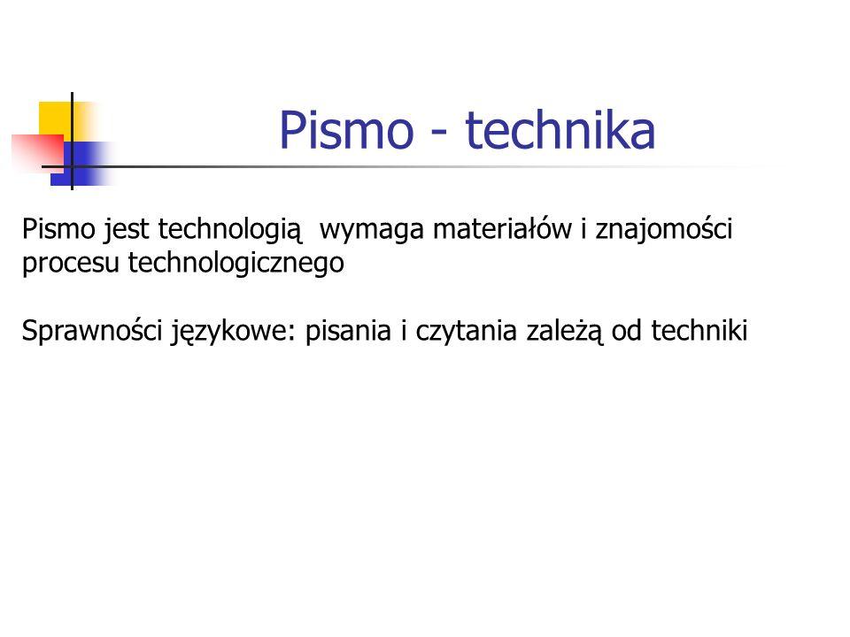 Pismo - technika Pismo jest technologią wymaga materiałów i znajomości procesu technologicznego.