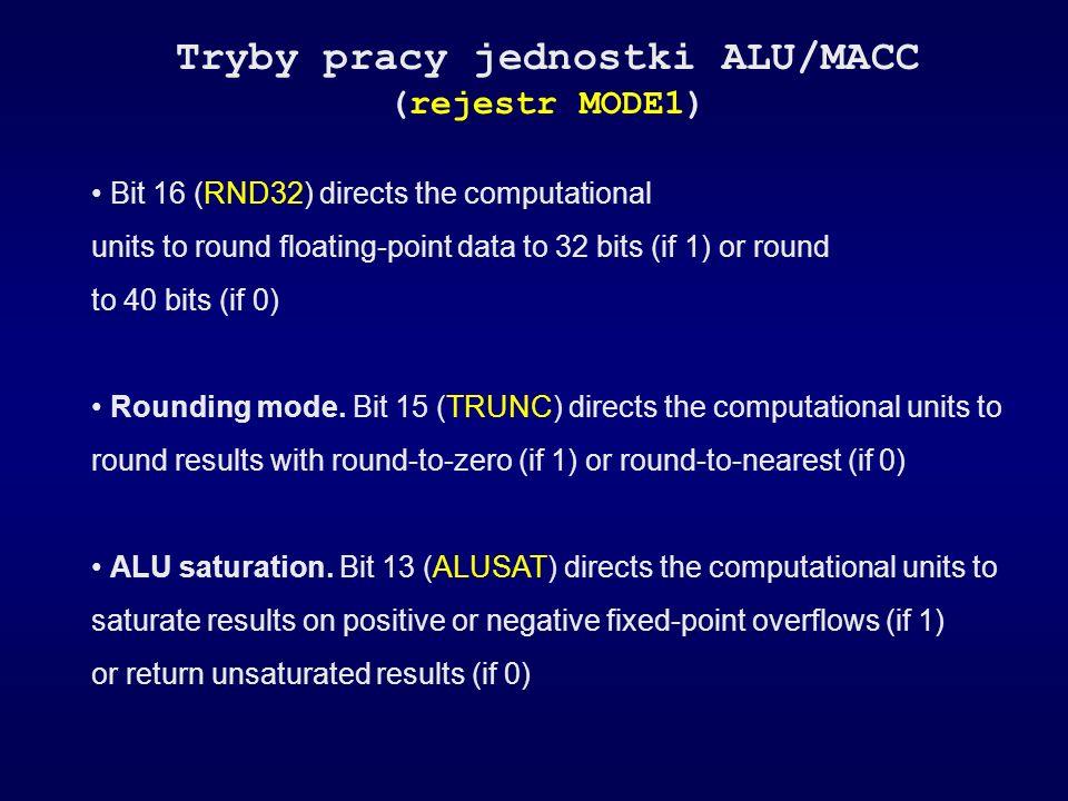 Tryby pracy jednostki ALU/MACC