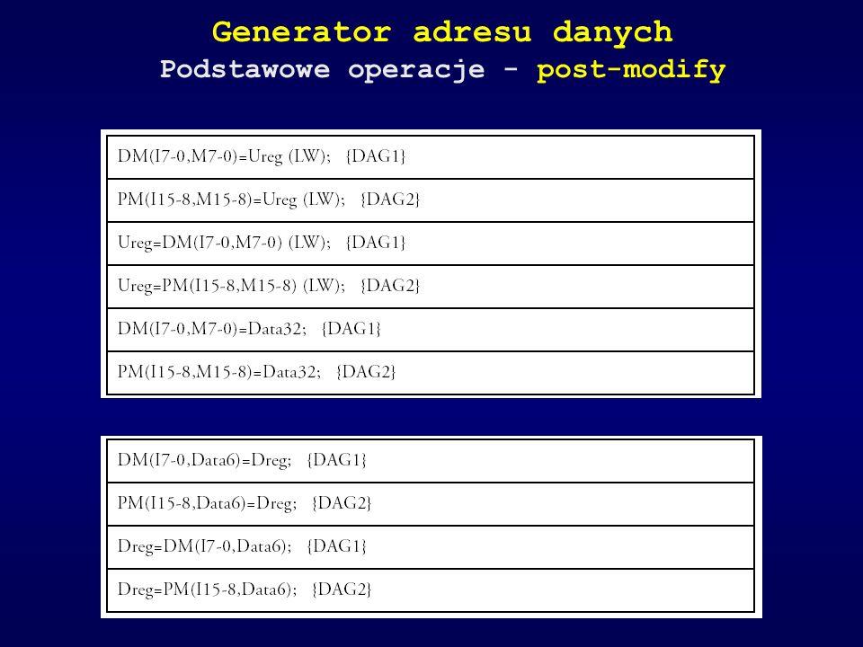 Generator adresu danych Podstawowe operacje - post-modify