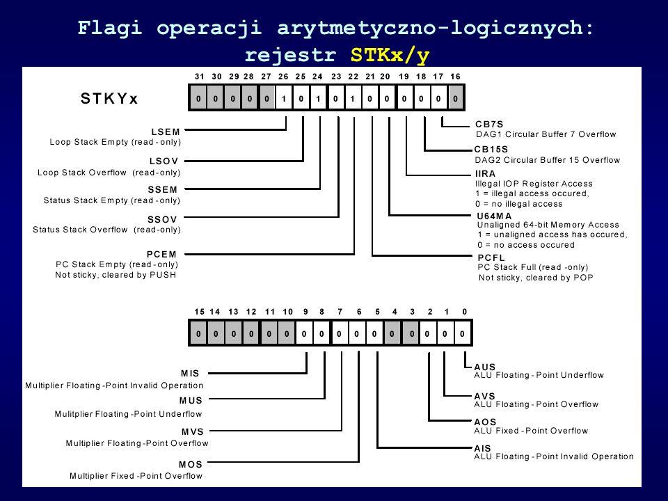 Flagi operacji arytmetyczno-logicznych: