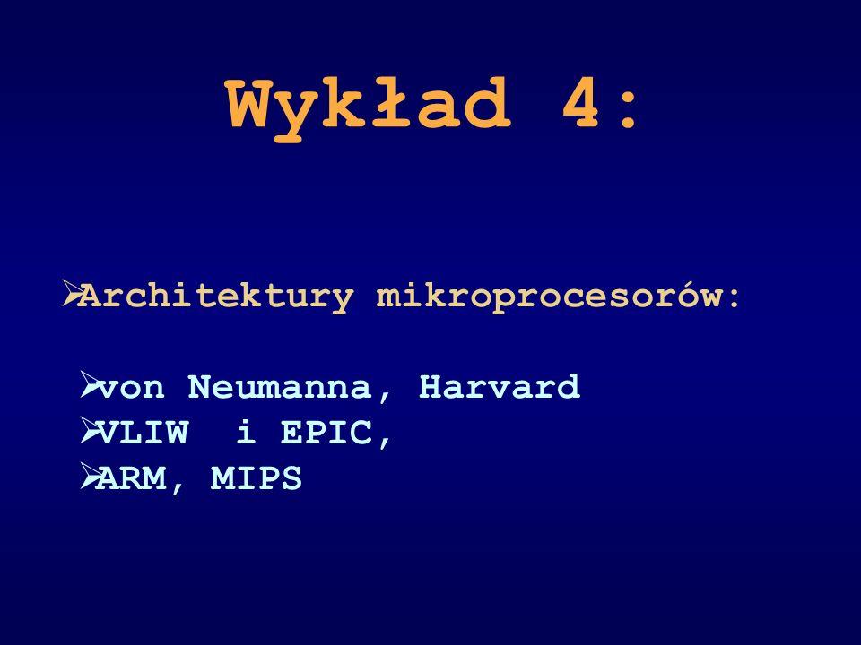 Wykład 4: Architektury mikroprocesorów: von Neumanna, Harvard