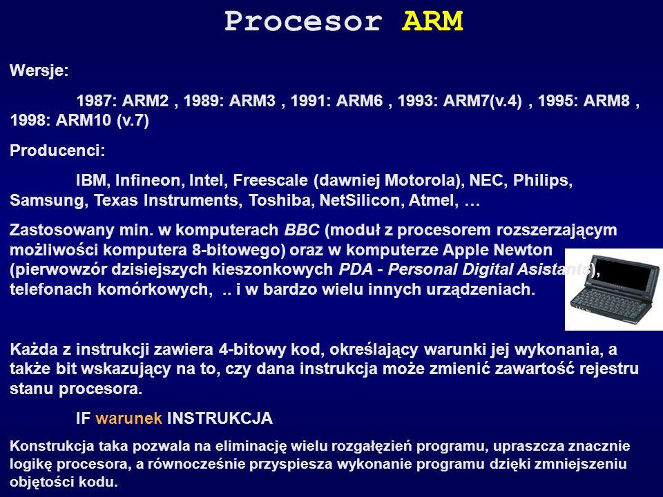 Procesor ARM Wersje: 1987: ARM2 , 1989: ARM3 , 1991: ARM6 , 1993: ARM7(v.4) , 1995: ARM8 , 1998: ARM10 (v.7)