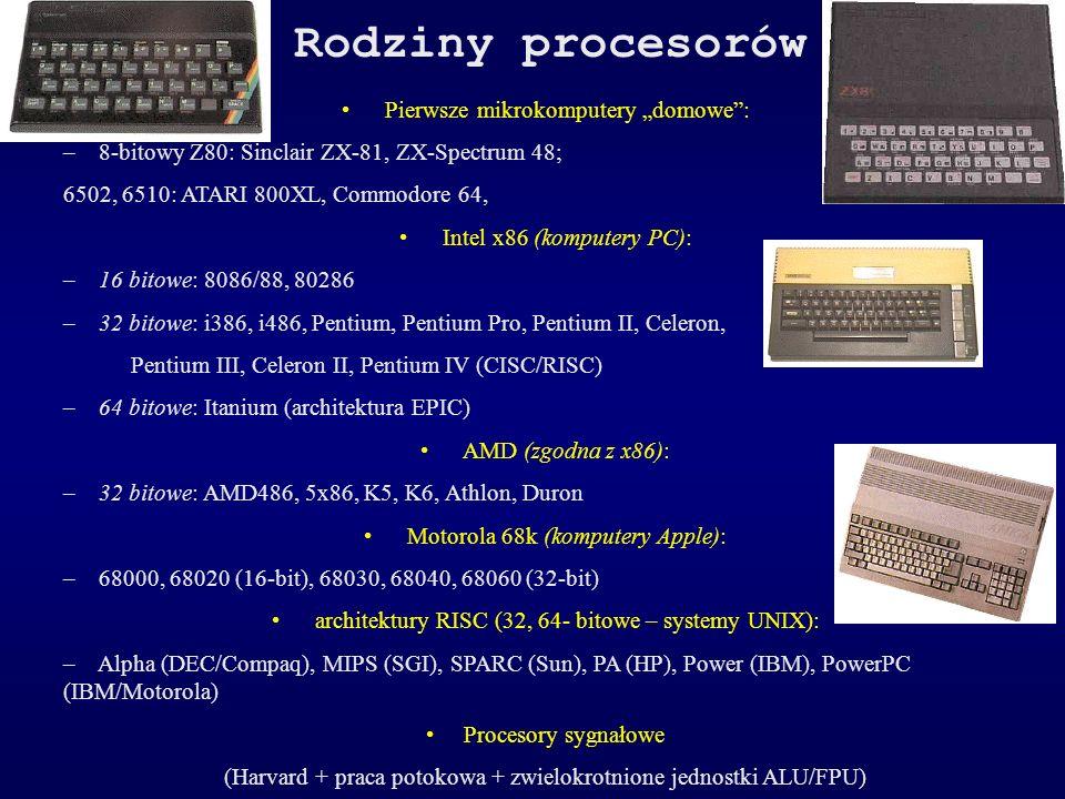"""Rodziny procesorów • Pierwsze mikrokomputery """"domowe :"""