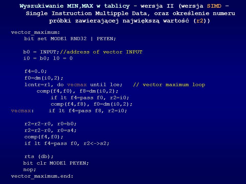 Wyszukiwanie MIN,MAX w tablicy - wersja II (wersja SIMD – Single Instruction Multipple Data, oraz określenie numeru próbki zawierającej największą wartość (r2))
