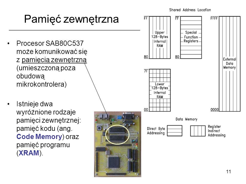 Pamięć zewnętrzna Procesor SAB80C537 może komunikować się z pamięcią zewnętrzną (umieszczoną poza obudową mikrokontrolera)