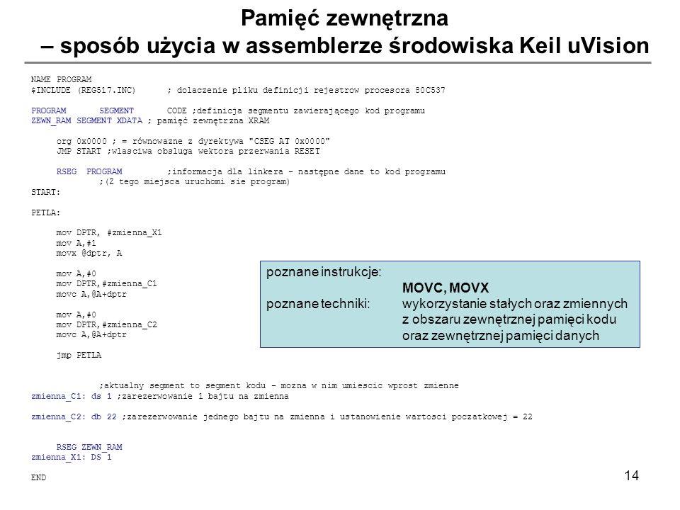 Pamięć zewnętrzna – sposób użycia w assemblerze środowiska Keil uVision