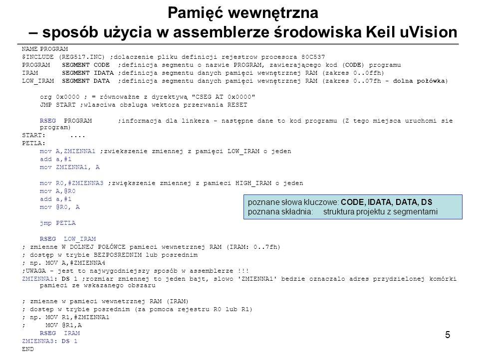 Pamięć wewnętrzna – sposób użycia w assemblerze środowiska Keil uVision