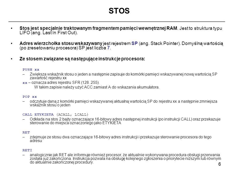 STOS Stos jest specjalnie traktowanym fragmentem pamięci wewnętrznej RAM. Jest to struktura typu LIFO (ang. Last In First Out).