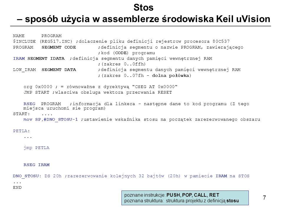 Stos – sposób użycia w assemblerze środowiska Keil uVision