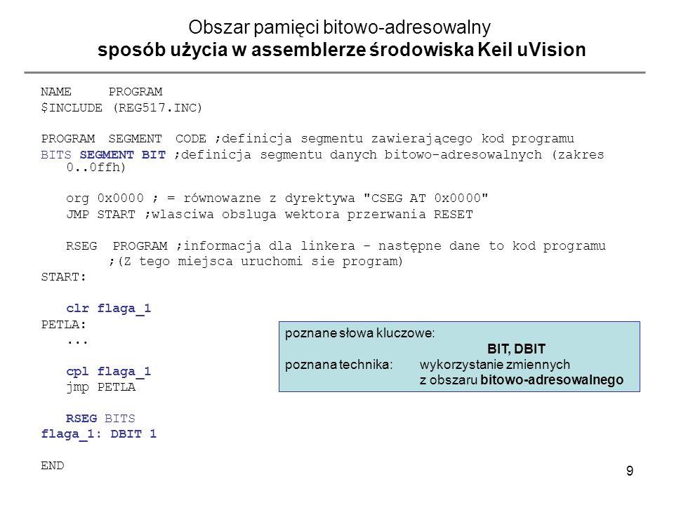 Obszar pamięci bitowo-adresowalny sposób użycia w assemblerze środowiska Keil uVision