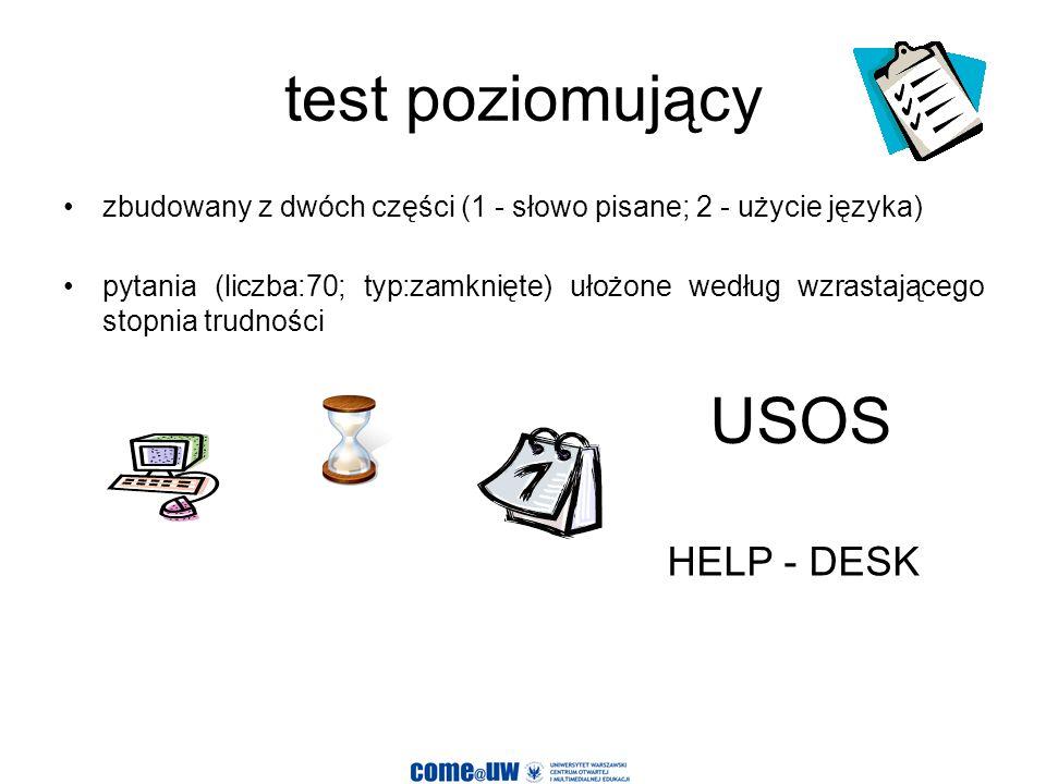 test poziomujący USOS HELP - DESK