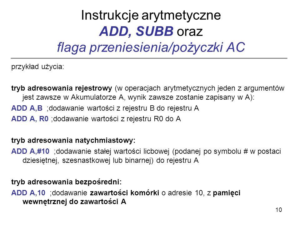 Instrukcje arytmetyczne ADD, SUBB oraz flaga przeniesienia/pożyczki AC