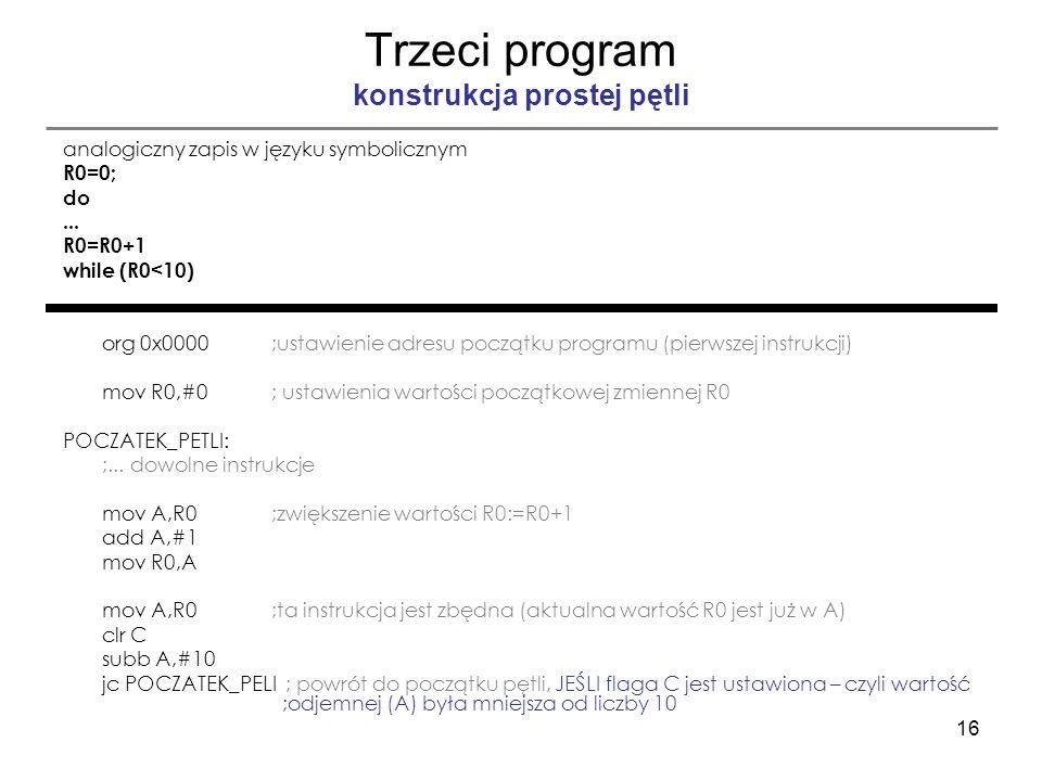 Trzeci program konstrukcja prostej pętli