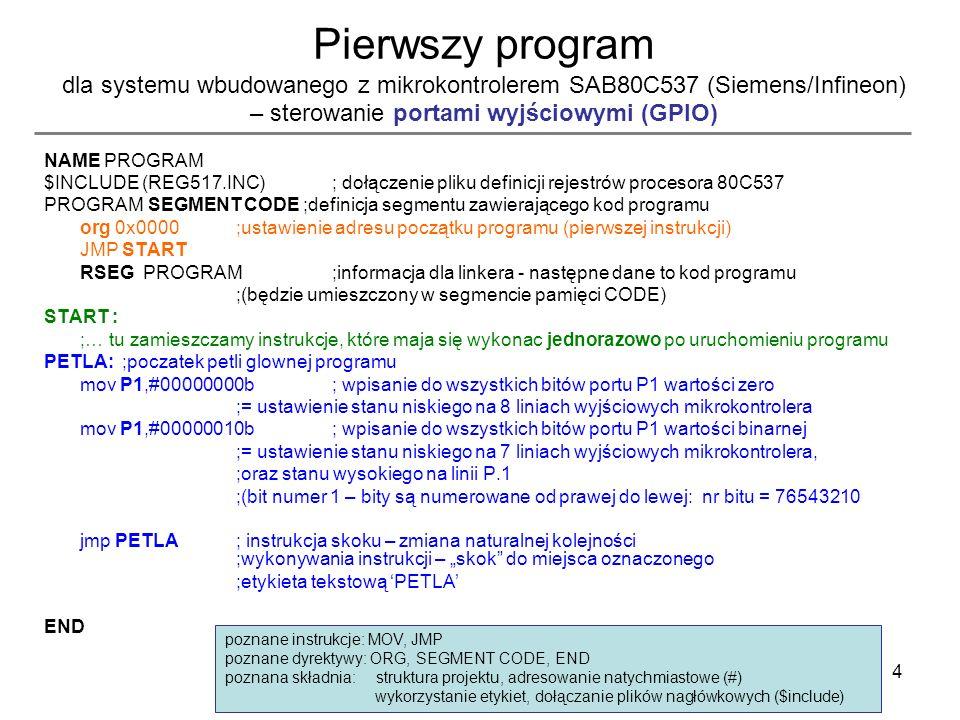 Pierwszy program dla systemu wbudowanego z mikrokontrolerem SAB80C537 (Siemens/Infineon) – sterowanie portami wyjściowymi (GPIO)