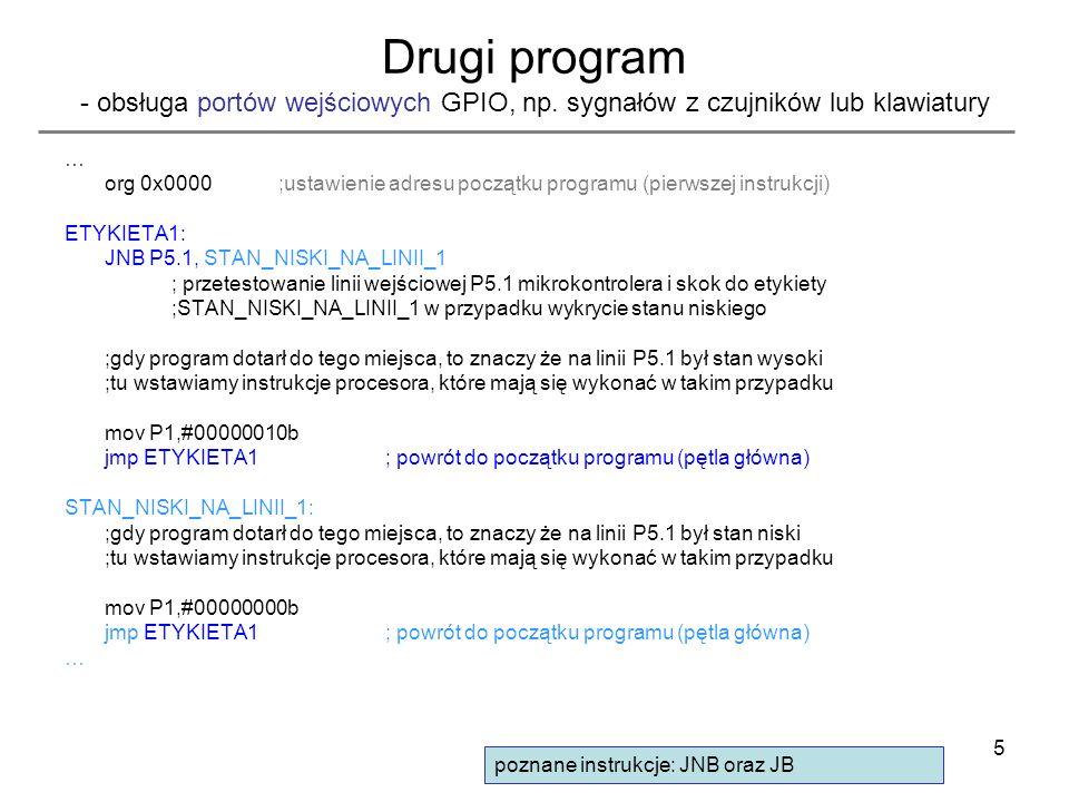Drugi program - obsługa portów wejściowych GPIO, np