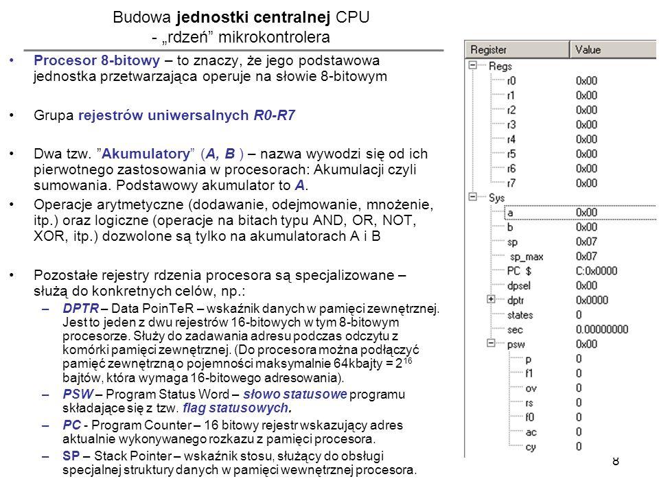 """Budowa jednostki centralnej CPU - """"rdzeń mikrokontrolera"""