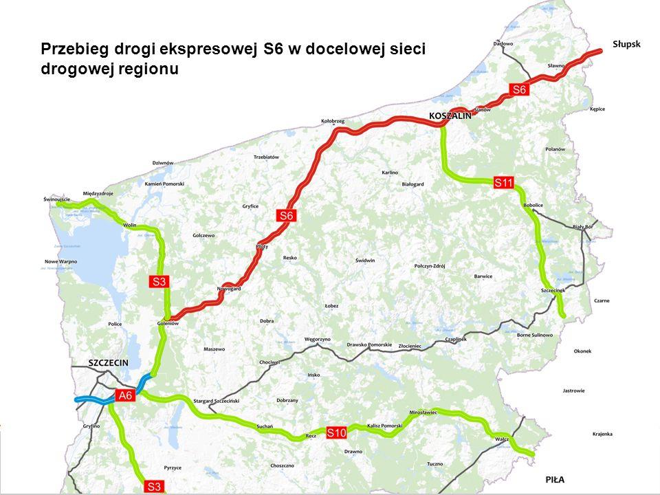 Przebieg drogi ekspresowej S6 w docelowej sieci drogowej regionu