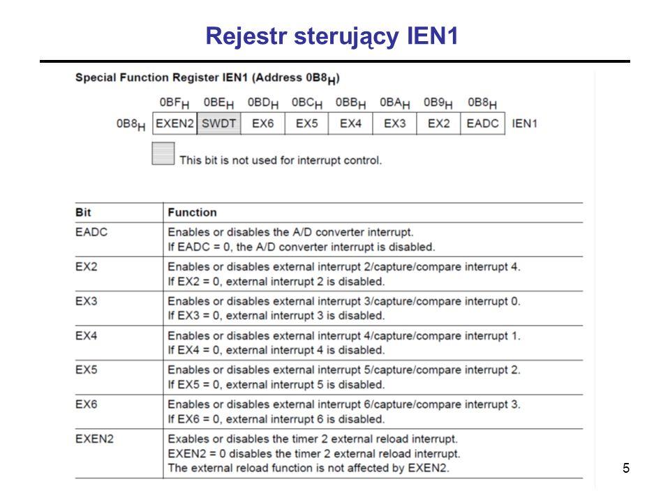 Rejestr sterujący IEN1