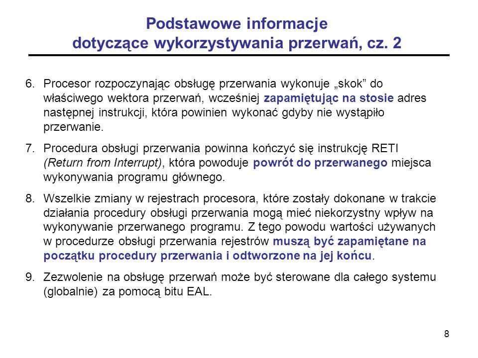 Podstawowe informacje dotyczące wykorzystywania przerwań, cz. 2